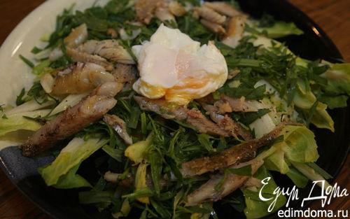 Рецепт Салат из цикория с копченой рыбой и яйцом