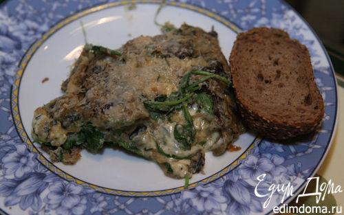 Рецепт Омлет с грибами, руколой и голубым сыром