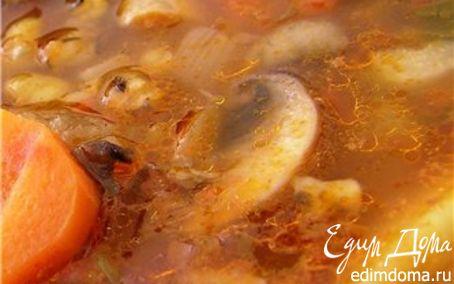 Рецепт Острый томатный суп с грибами и чечевицей