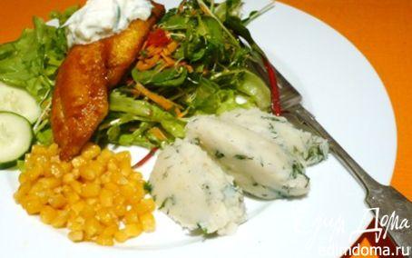 Рецепт Рыба в куркуме, цацики и салат из руколы