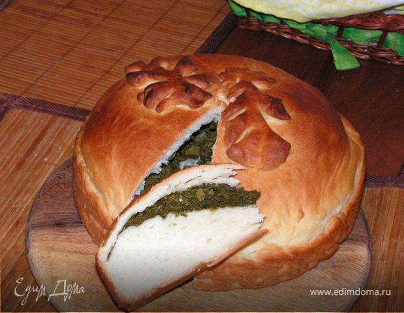 Постный пирог с щавлем и шпинатом
