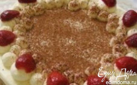 Рецепт Тортик с клубникой и взбитыми сливками