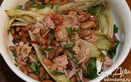 Рецепт Салат из красной фасоли с тунцом и цикорием