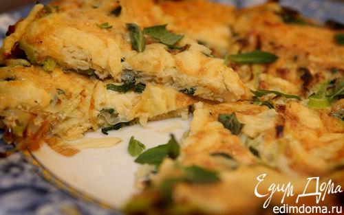 Рецепт Фриттата с луком-пореем, сыром и травами