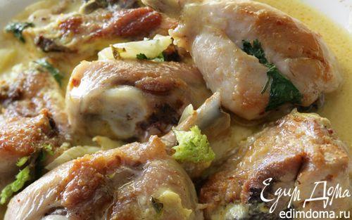 Рецепт Тушеный цыпленок в специях с фенхелем