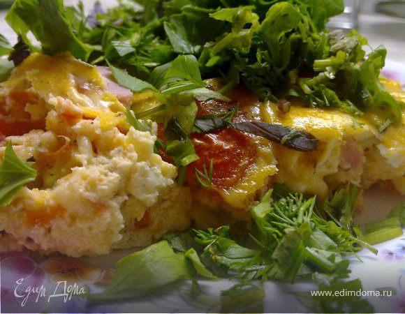 Сырный киш с помидорами, ветчиной и пряными травами