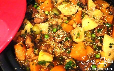 Рецепт Тажин из курицы с айвой и оливками