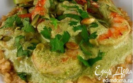 Рецепт Креветки в соусе из тыквенных семечек
