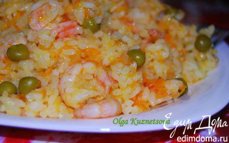 Рецепт Рис с креветками и зеленым горошком