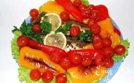 Рецепт Скумбрия, запеченная в духовке с овощами гриль