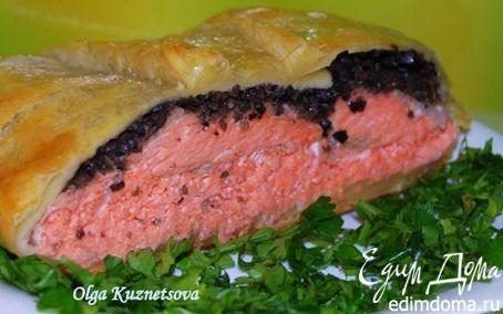 Рецепт Пирог из слоеного теста с форелью