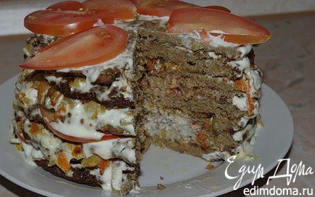 Рецепт Печёночный тортик с помидорками