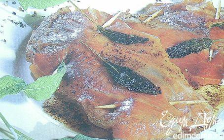 Рецепт Сальтимбокка(жареная телятина с ветчиной и шалфеем)