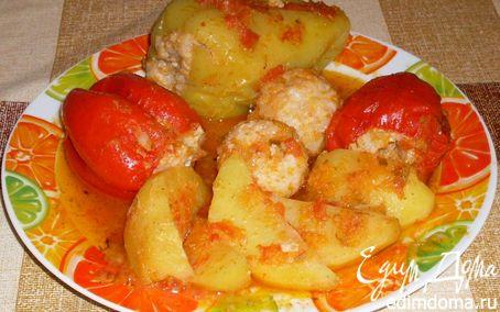 Рецепт Перец фаршированный тушеный с картофелем