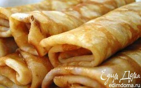 Рецепт Блинчики с карамелизированными бананами и творогом