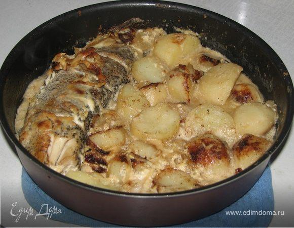Щука под сметаной с молодым картофелем