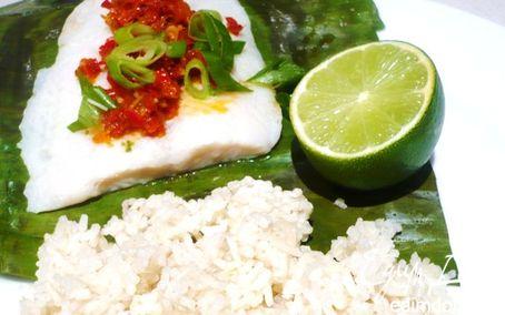Рецепт Рыба с соусом самбал и кокосовым рисом в пароварке