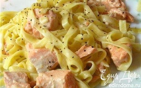 Рецепт Домашняя лапша с лососевым соусом