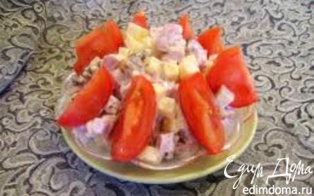 Рецепт Салат из ветчины с сыром, грибами и помидорами