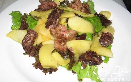 Рецепт Салат с куриной печенью и яблоками