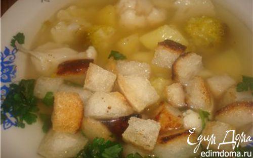 Рецепт Густой супчик с овощами и крутонами