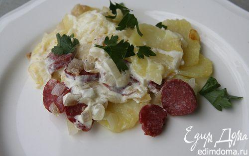 Рецепт Картофельная запеканка с колбасками и сыром