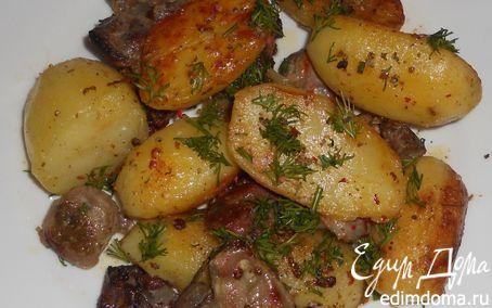 Рецепт Жаркое из картофеля и куриных желудков