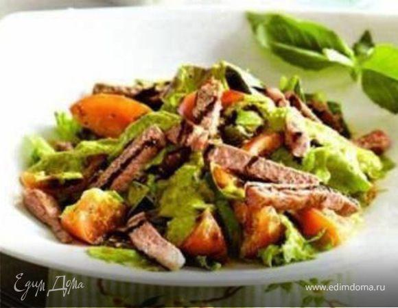 Зеленый салат с имбирной заправкой