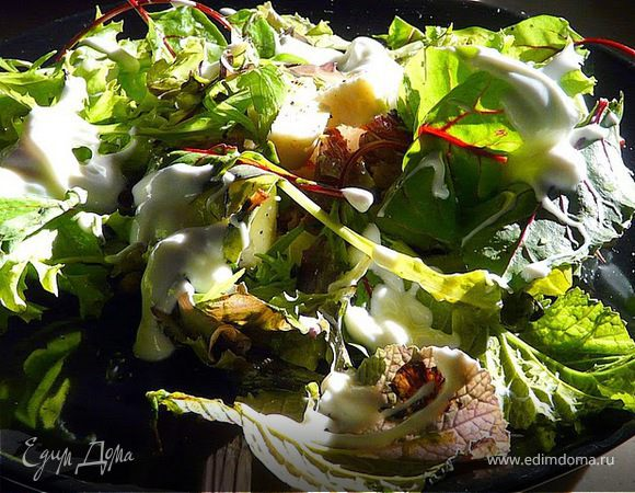 Салат с финиками, грецкими орехами и сыром