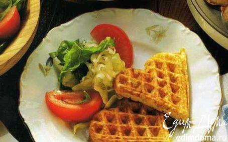 Рецепт Сырные вафли с салатом в вафельнице