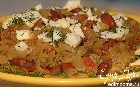 Рецепт Капуста тушеная с фасолью и вареным яйцом
