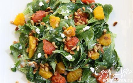 Рецепт Салат с козьим сыром, жареными цитрусами и орешками