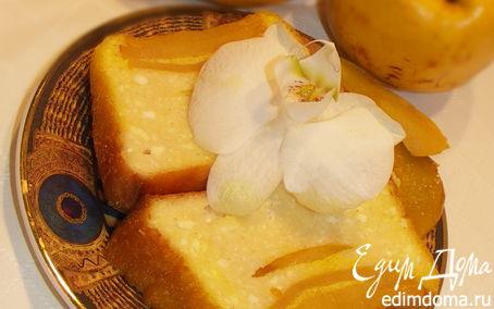 Рецепт Нежный творожный пирог с айвой