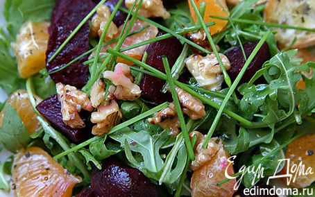 Рецепт Салат со свеклой, руколой и мандаринами