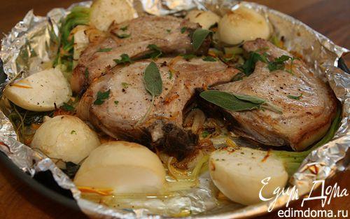 Рецепт Свинина на ребрышках с шалфеем, апельсинами и репкой
