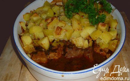 Рецепт Гуляш под нежным соусом с картофельной корочкой