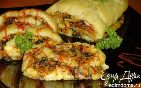 Рецепт Постный картофельный рулет с грибами и овощами