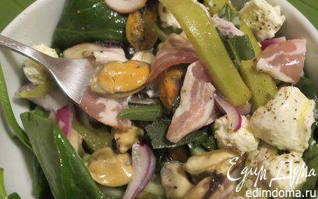 Рецепт Салат с мидиями, беконом и бамия