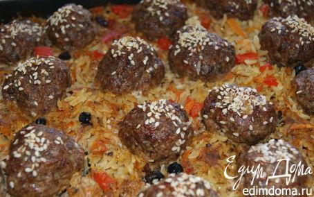 Рецепт Рисовая запеканка с мясными шариками