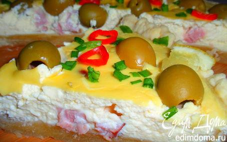 Рецепт Закусочный пирог с творогом и ветчиной