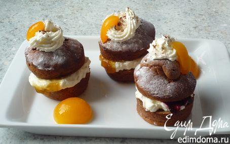 Рецепт Шоколадные маффины со взбитыми сливками