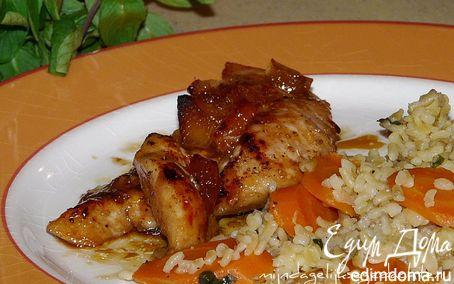 Рецепт Курица в апельсиновой глазури с булгуром
