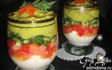 Рецепт Verrines с сёмгой, сырным кремом и кремом из авокадо