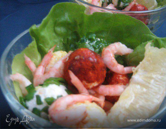Салат с творожными шариками и креветками