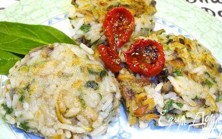 Рецепт Прованский завтрак. Рисовые котлетки с шампиньонами и шпинатом.