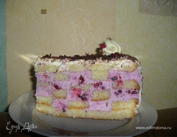 Шахматный торт с ягодным кремом