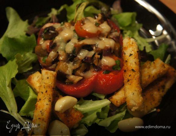 Перец, запеченный с овощами и пармеджано