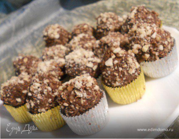 Шоколадные конфеты с вафлями и орехами