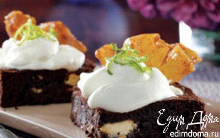 Рецепт Brownie -Тройной шоколад с карамелизированным бананом