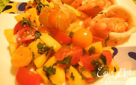Рецепт Морепродукты с сальсой из физалиса, манго и черри